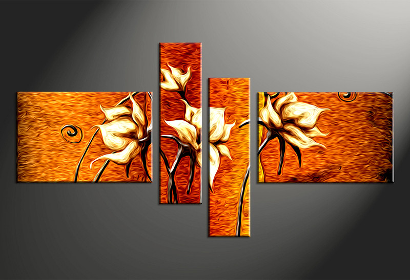 4 Piece Large Canvas, Home Decor Artwork, Floral Large Pictures, Oil  Paintings Floral