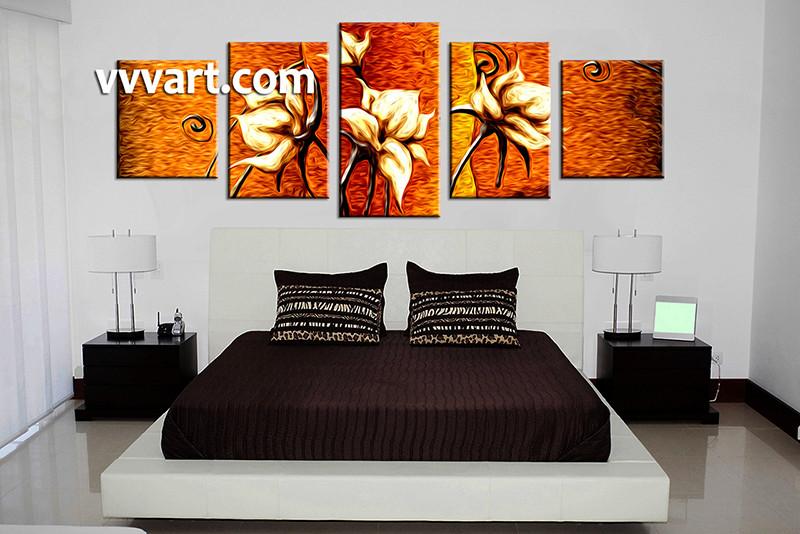 5 Piece Canvas Art, Bedroom Canvas Photography, Oil Paintings Floral  Pictures, Floral Canvas