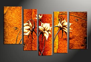 5 piece large canvas, home decor artwork, orange floral large pictures, oil paintings floral art