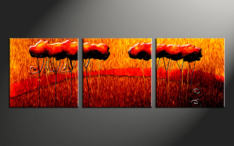 3 piece oil paintings orange modern canvas wall art for Modern art to buy