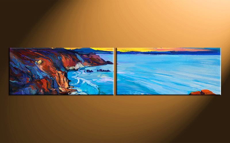 2 Piece Blue Ocean Group Canvas Oil Paintings