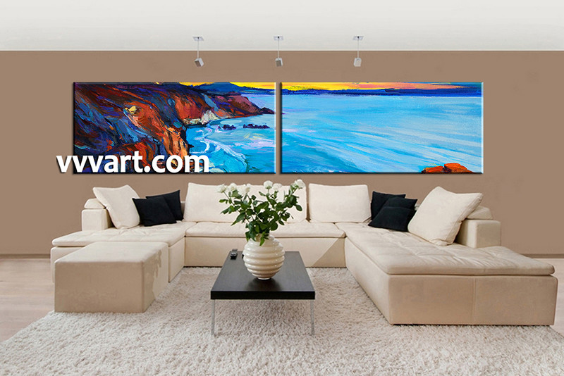 2 Piece Huge Pictures, Living Room Multi Panel Canvas, Ocean Canvas Art  Prints, Part 74