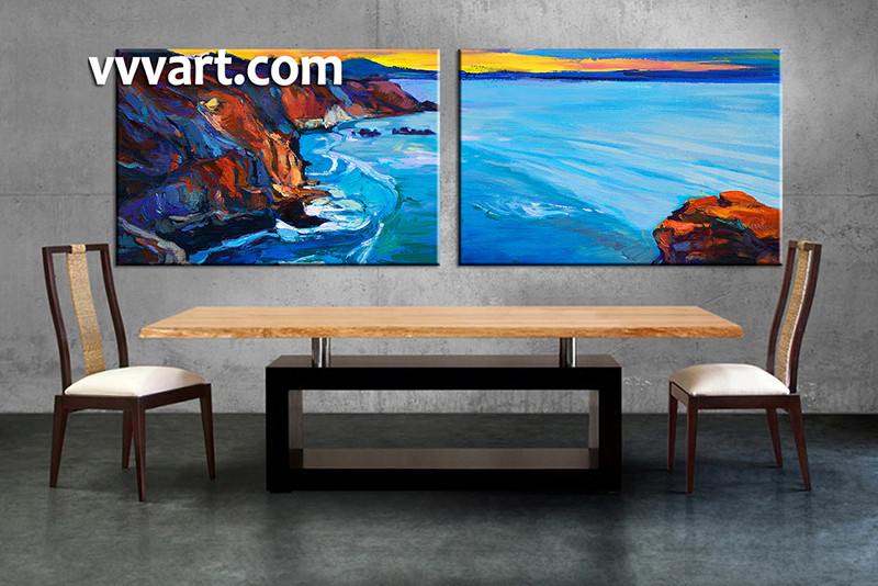 living room canvas art. 2 piece multi panel art  dining room canvas photography oil paintings ocean wall Piece Blue Ocean Large Canvas Oil Paintings