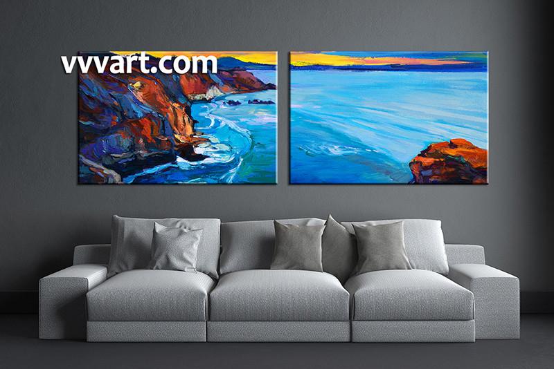 Living Room Wall Art, 2 Piece Wall Art, Ocean Multi Panel Art, Ocean
