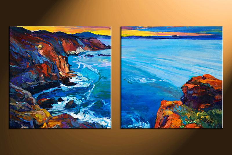 2 Piece Large Canvas Home Decor Artwork Ocean Pictures Oil Paintings