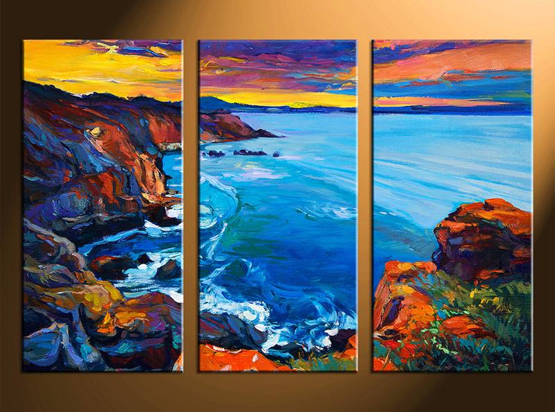 3 Piece Multi Panel Canvas Blue Ocean Oil Paintings