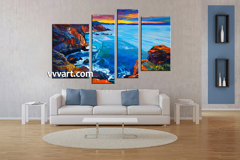 4 piece multi panel canvas blue ocean oil paintings