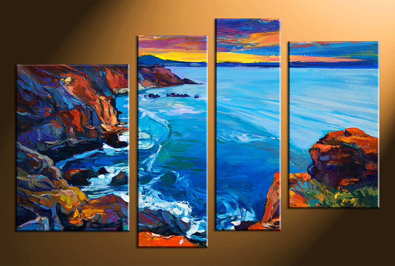 4 Piece Canvas Wall Art, Blue Ocean Pictures, Ocean Home Decor, Oil  Paintings