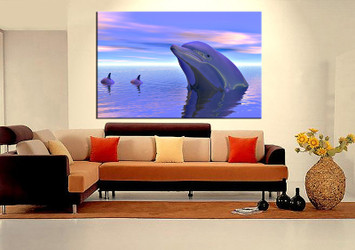 1 piece wall art,  dolphin wildlife art, wildlife artwork, wildlife huge large pictures, living room photo canvas