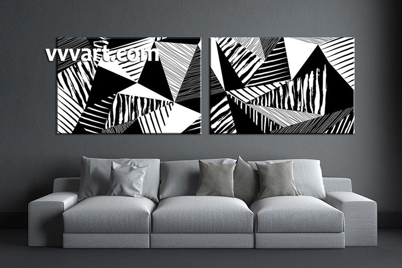 Perfect 2 Piece Huge Pictures, Living Room Multi Panel Canvas, Black And White  Canvas Wall