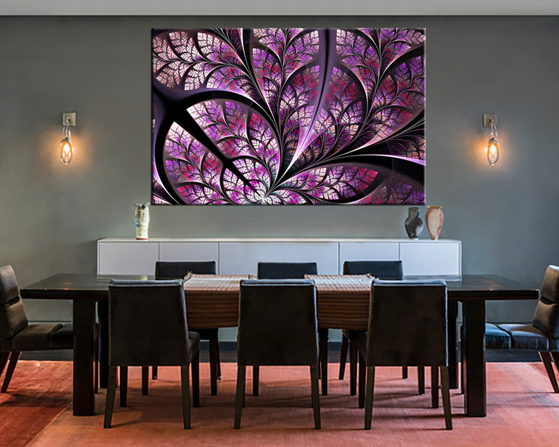 1 piece purple art modern canvas photography for Purple dining room wall art
