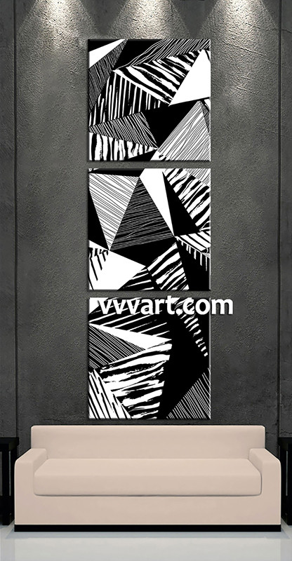 3 piece canvas wall art black and white artwork abstract wall art oil