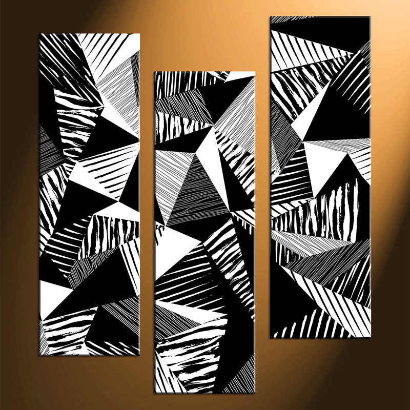 Excellent 3 Piece Abstract Black and White Oil Paintings Photo Canvas AB76