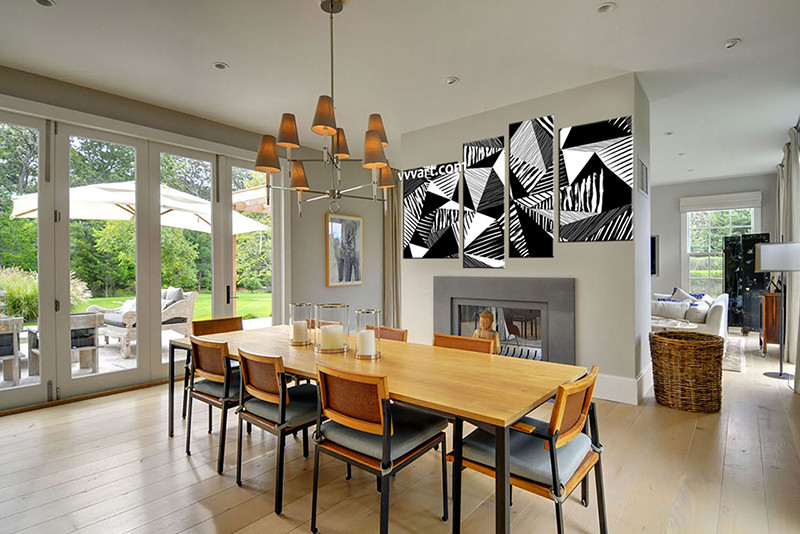 4 piece abstract black and white oil paintings group canvas for Black and white dining room wall art