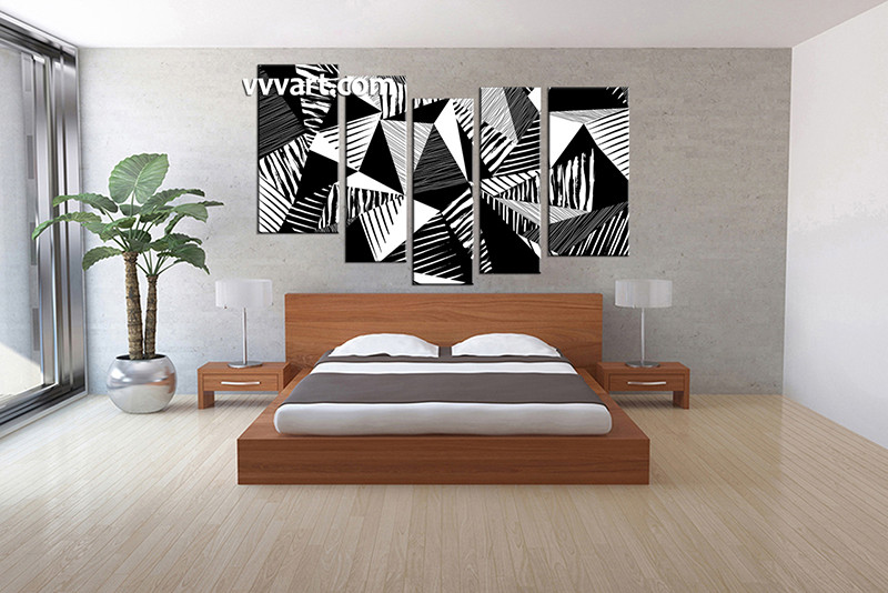 5 piece canvas wall art bedroom art oil paintings abstract large canvas black