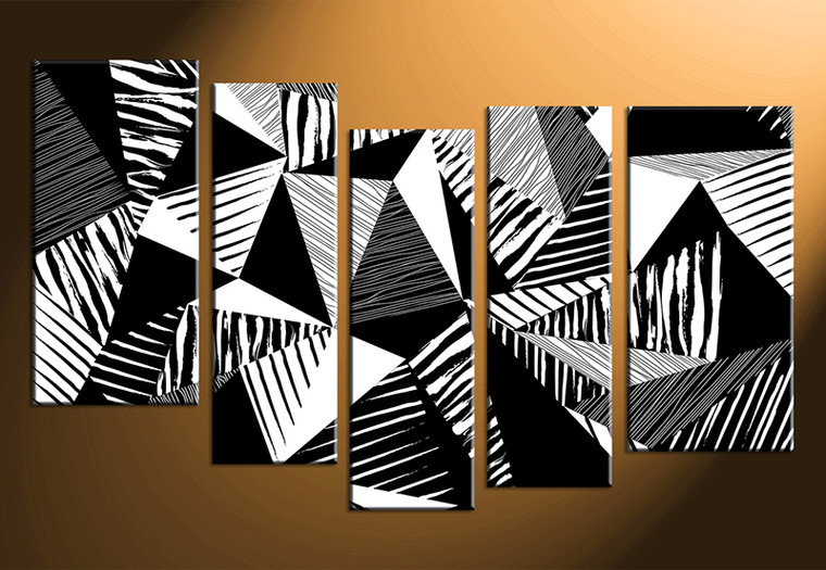 5 piece abstract black and white oil paintings huge canvas art