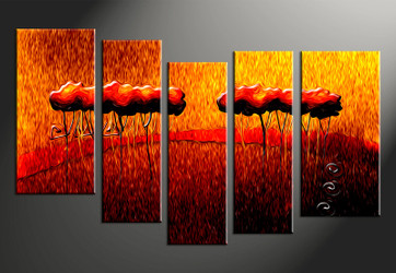 5 piece wall art, home decor modern artwork, modern pictures, oil paintings orange modern canvas photography, modern  huge pictures