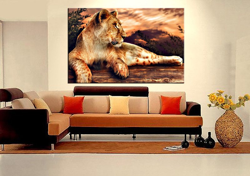 1 Piece Huge Pictures, Living Room Multi Panel Canvas, Animal Canvas Art  Prints,