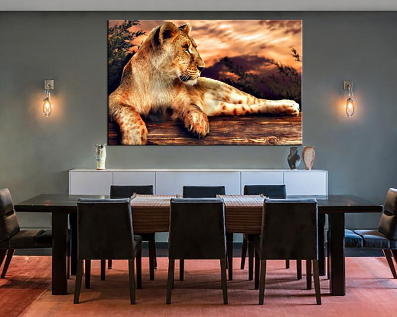 1 Piece Canvas Wall Art Animal Print Lion Dining Room