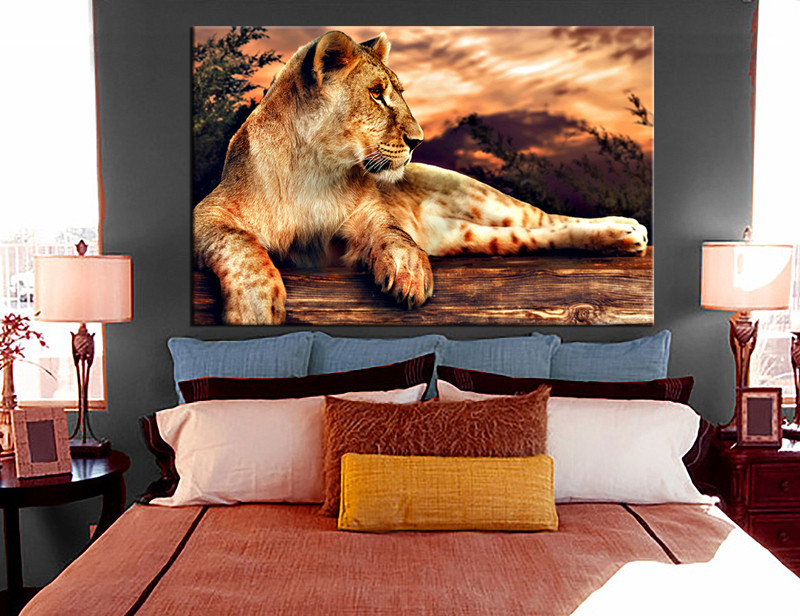 1 Piece Canvas Wall Art, Bedroom Art Print, Animal Large Canvas, Lion Animal