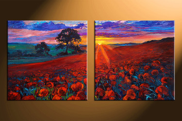 2 piece photo canvas, home decor artwork, sunrise scenery multi panel canvas, oil paintings scenery canvas photography