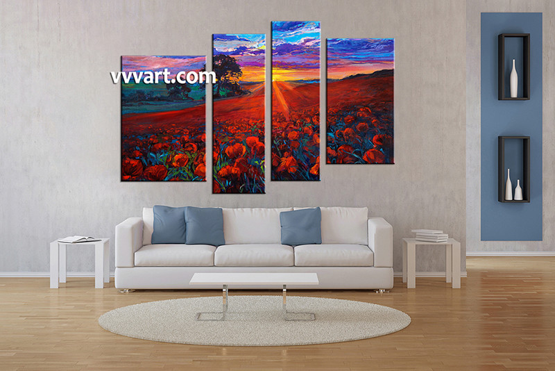 4 Piece Huge Pictures, Living Room Multi Panel Canvas, Oil Paintings  Scenery Canvas Art