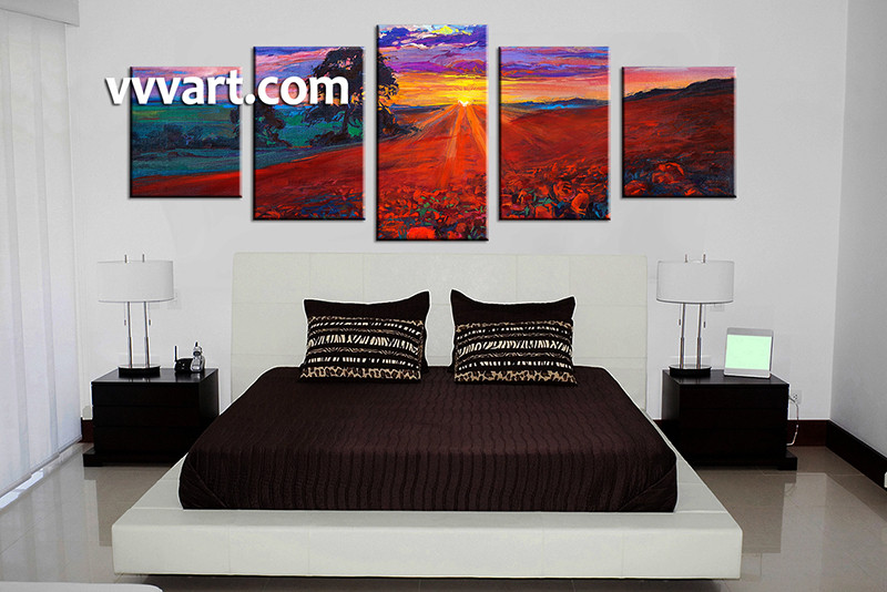 5 Piece Colorful Sunrise Scenery Group Canvas Oil Paintings. Emejing Paintings For Bedroom Photos   Decorating Design Ideas