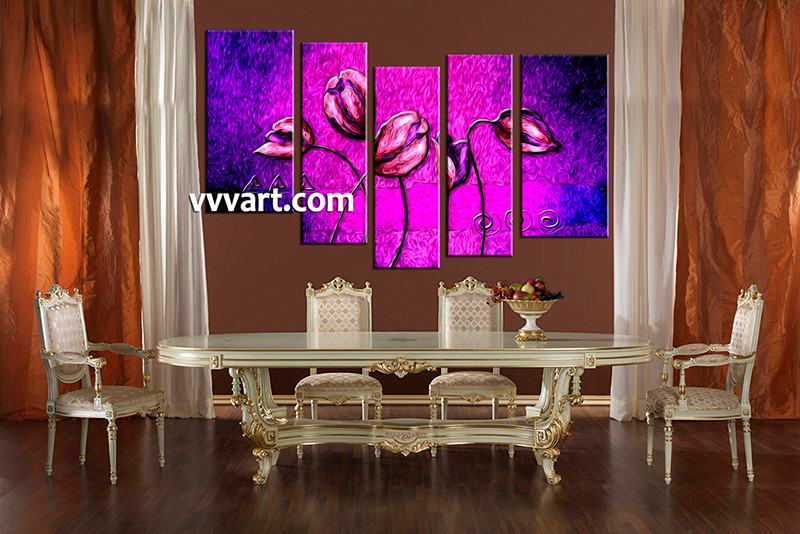 5 piece canvas purple floral oil paintings multi panel art for Purple dining room wall art