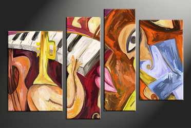 4 piece large canvas, home decor artwork, abstract oil paintings large pictures, colorful abstract art