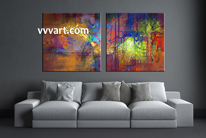2 Piece Wall Art, Living Room Art, Abstract Multi Panel Art, Colorful  Abstract