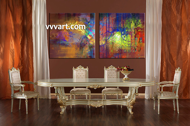 2 Piece Large Pictures, Dining Room Wall Decor, Abstract Group Canvas,  Colorful Abstract