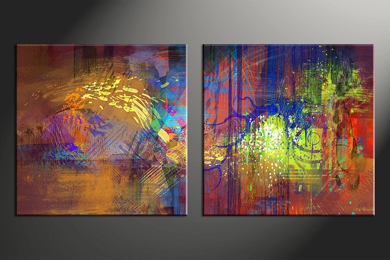 2 Piece Photo Canvas Home Decor Artwork Colorful Abstract Multi Panel