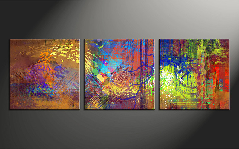 3 Piece Abstract Wall Art Colorful Oil Paintings Huge Pictures