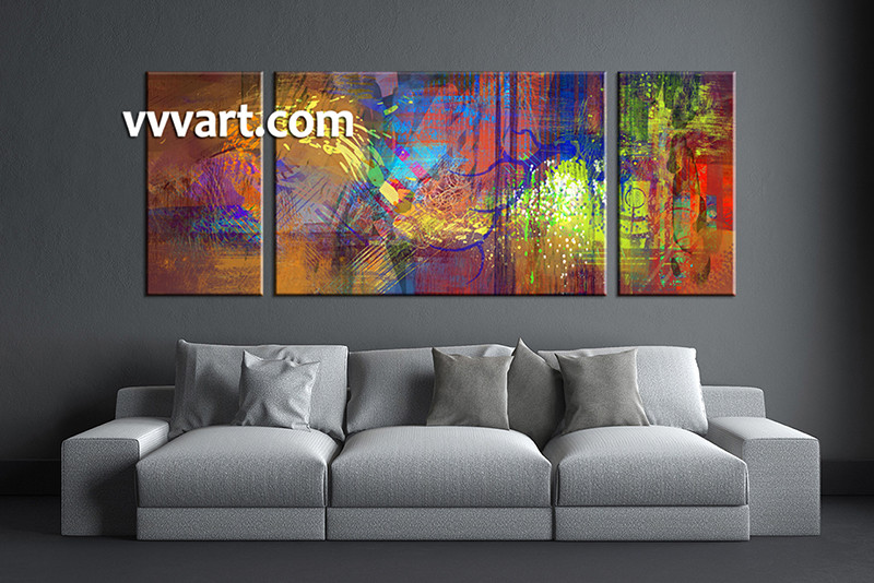 3 Piece Wall Art, Living Room Art, Colorful Abstract Multi Panel Art,  Abstract Part 37