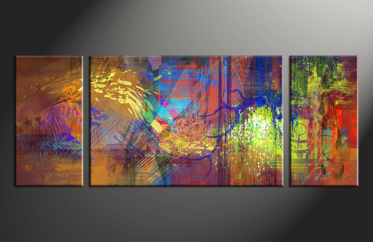 3 piece abstract wall art colorful oil paintings large canvas for Large colorful wall art