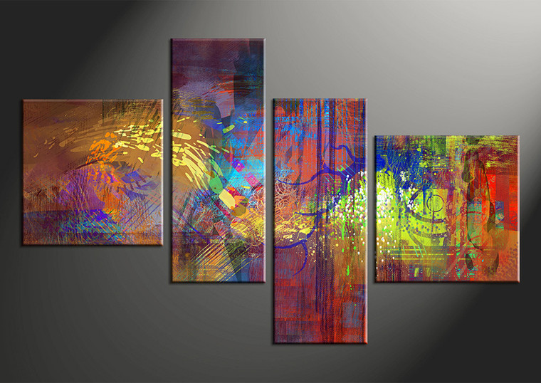 4 Piece Canvas Abstract Huge Pictures Colorful Oil