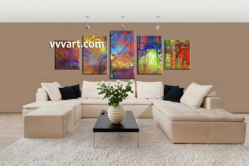 5 Piece Canvas Photography, Living Room Huge Pictures, Colorful Abstract  Multi Panel Art,