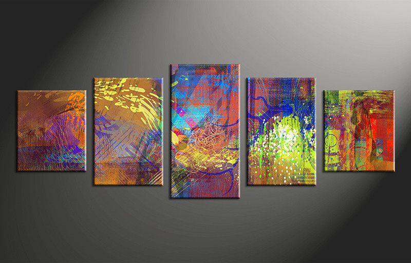 5 Piece Abstract Decor Colorful Oil Paintings Multi Panel Canvas