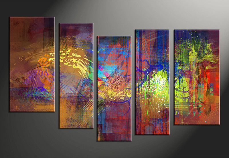 Vvvart reviews 5 piece abstract decor colorful oil for Large colorful wall art