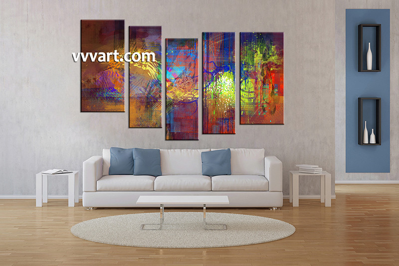 Vvvart Reviews 5 Piece Abstract Decor Colorful Oil