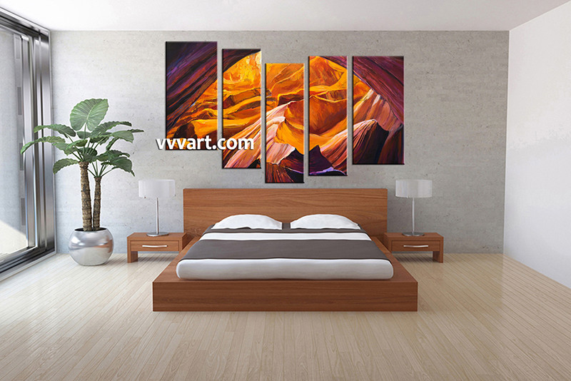 paintings for bedroom. 5 piece canvas wall art  bedroom landscape artwork pictures Piece Landscape Oil Paintings Orange Canvas Wall Decor