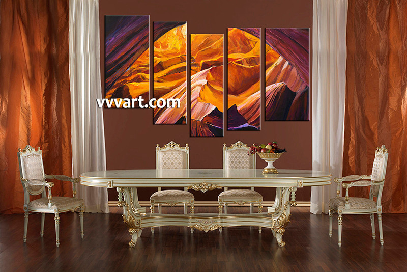5 Piece Multi Panel Art, Dining Room Canvas Photography, Oil Paintings  Landscape Wall Art
