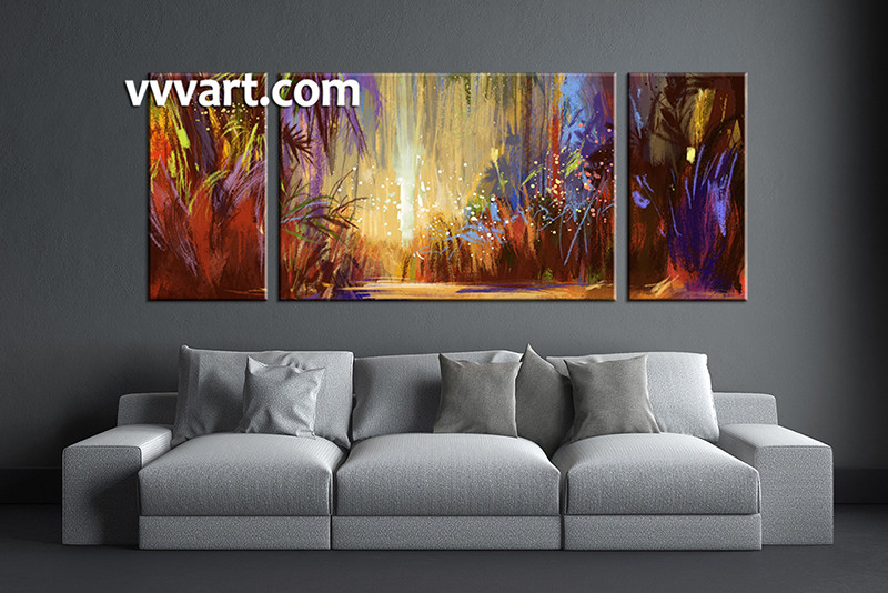 3 Piece Wall Art, Living Room Large Canvas, Colorful Scenery Huge Pictures,  Scenery