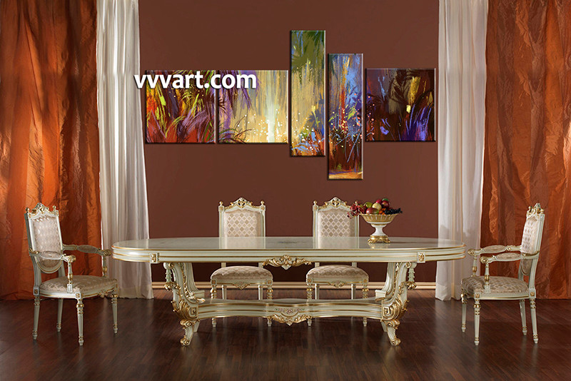 5 Piece Colorful Oil Paintings Pictures Scenery Multi Panel Art