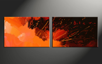 2 piece canvas wall art, home decor art, abstract canvas art, orange abstract pictures, oil paintings huge pictures