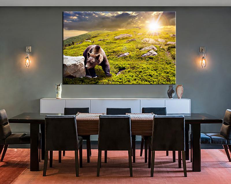 dining room canvas art. 1 Piece Large Canvas, Dining Room Canvas Wall Art, Wildlife Green Artwork, Art P