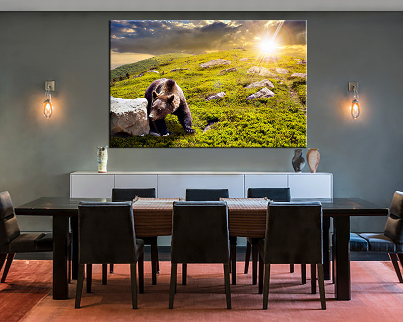 Amazing 1 Piece Large Canvas, Dining Room Canvas Wall Art, Wildlife Green Artwork,  Wildlife