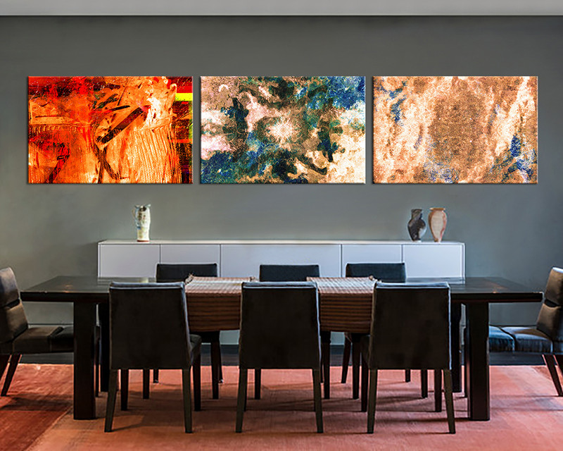 3 Piece Large Canvas Dining Room Wall Art Abstract Artwork Brown