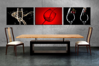 Dining Room Wall Decor, 3 Piece Wall Art, Wine Multi Panel Art, Wine