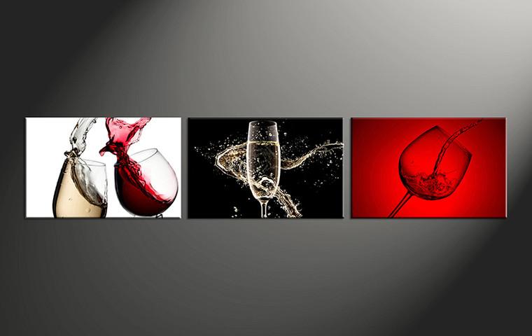 3 Piece Large Canvas Red Wine Glass Multi Panel Art
